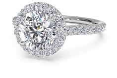 French-Set Halo Diamond Band Engagement Rings