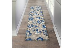 Nourison Aloha 10' Runner Blue Patio Area Rug | Ashley Furniture HomeStore Blue Patio, Plush Pattern, Indoor Outdoor Rugs, At Home Store, Power Loom, Colorful Rugs, Contemporary Design, Area Rugs, Sheath Dress