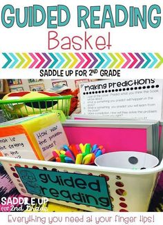This basket contains everything I need for guided reading. It includes comprehension stems, dry erase boards, finger light beams and so much more. Come read all about it and grab a FREE printable label too!