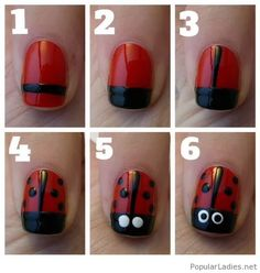 Nice and sweet lady bug manicure tutorial
