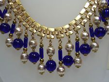VTG Miriam Haskell Necklace Baroque Pearls & Blue Art Glass Beads Bookchain