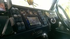 Yes Folks ! This is a L/R Defender 110. Everything is controlled from your dashboard. This includes spot lights, fridge, inverter, compressor, winch, fuel pumps, windscreen wiper and water etc. All three panels are easily removable so that you can easily access behind the dash. All switches are laser engraved to specific requirements. There is even a USB port and DVD, radio/CD player with Bluetooth.
