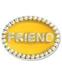 "Beaded Spacer, FRIEND - Both sides of this .925 sterling silver spacer have a beaded rim and the word ""FRIEND"" embedded in yellow enamel.  Please note:  This item does not fit on braided leather bracelets or necklaces."