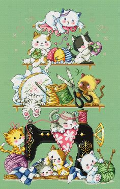 Sewing Cats SO-G119 Cross Stitch Pattern Leaflet SODA