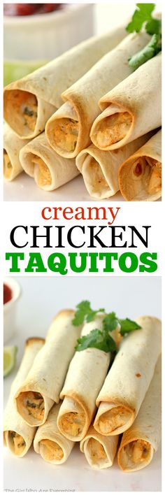 Baked Creamy Chicken Taquitos - one of my favorite go-to Mexican appetizers or meal. the-girl-who-ate-everything.com