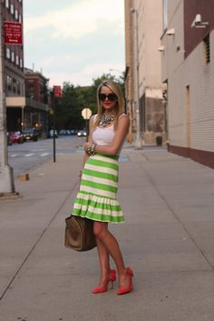 Kate Spade green striped skirt with heels and bows Summer Outfits, Cute Outfits, Atlantic Pacific, Down South, Stripe Skirt, Ruffle Skirt, Ruffles, Cute Skirts, Spring Summer Fashion