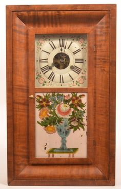 Reverse decorated urn of flowers tablet, floral decorated zinc dial with Rom. on Mar 2016 Antique Clocks, Urn, So Little Time, Vintage Items, Auction, Antiques, Floral, Wall Clocks, Primitives