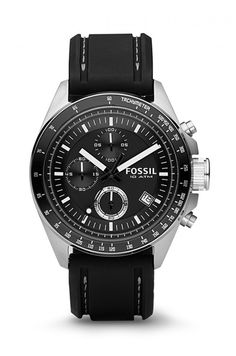 Fossil Men's Decker Stainless Steel Chronograph Watch With Black Silicon Band Fossil Watches For Men, Rolex Watches, Omega Watch, Bracelet Watch, Accessories, Watch Women, Stainless Steel, Black