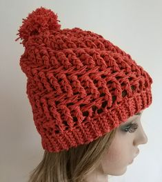 Terracotta Bobble Hat, women girls, winter hat, pom pom hat, handmade hat, hand crochet beanie, light weight hat for spring and autumn by BonnieBoon on Etsy