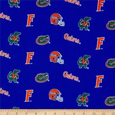 Collegiate Cotton Broadcloth Florida from @fabricdotcom  Cheer on the Gators, your favorite college team, with this collegiate broadcloth! This fabric is perfect for quilting, apparel and home décor accents. Colors include orange, white and green on a blue background. Logos appearing on this fabric are protected trademarks of the University of Florida. This product is intended for personal use only. Any unauthorized use is prohibited.