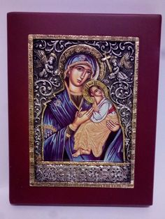 Christian Orthodox Icon with stud arm: virgin Mary and Jesus christ +Decorations