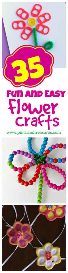 35 Fun and Easy Flower Crafts fro Kids from @alicanwrite