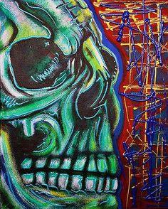 Gothic Skull Drawings | Skull Painting SKULL ART Abstract Contemporary Modern Art Gothic 8x10 ...