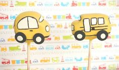 School Bus and Car Cake Pops!! Made by Carmen's Sweet Creations