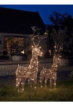 faux rattan light up reindeer christmas