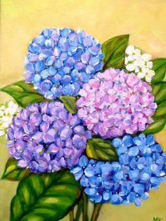 """Sunshine Hydrangeas ""12x16in., painting by artist Meltem Kilic"