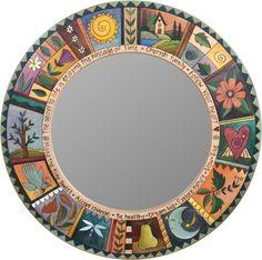 A handmade circle mirror by Sticks. Mirror Mosaic, Mosaic Art, Mosaic Glass, Glass Art, Sea Glass, Eclectic Mirrors, Home Decor Mirrors, Cool Mirrors, Round Mirrors