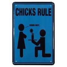 Placa de Metal Chicks Rule