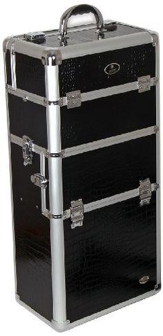 SHANY Jet Black Professional Rolling Makeup Case Premium Collection, Slim Design, 12 Pounds