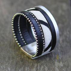 Bracelet Caroline By Miss Go Bijoux liens de cuir noir, argent et zèbre…