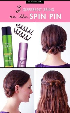 With just a few spins, hair pins create heavenly hairstyles — that stay put! To prove our love for the Spin Pin, we found three super easy and speedy ways to use it. Get ready to do the twist!