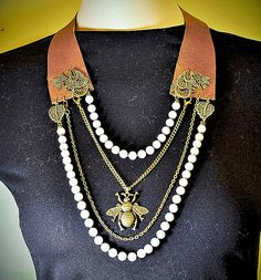 Brown Leather Necklace Faux Pearls bronze charms by LeasBoutique