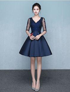 dd96adb5b0 A-Line V-neck Short / Mini Jersey Bridesmaid Dress with Sash / Ribbon. Ruhák  SzalagavatóraAlkalmi RuhákEsküvői ...