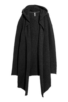 Cardigan in a soft bouclé knit made from a wool blend with a hood and no buttons.