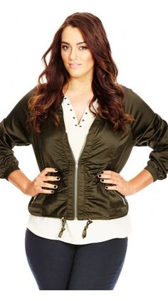 016ea70143c9e Plus Size Jungle Heat Satin Jacket in olive at City Chic