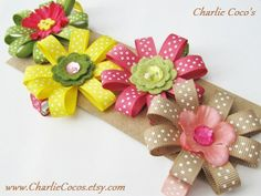 Flower Hair Bows for Girls by  CharlieCocos--so that's what I can do with scrapbook flowers!!!!!