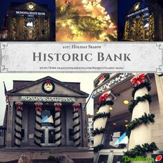 Christmas holiday lighting for a historical bank in Madison. We love the garland! Holiday Lights, Christmas Lights, Christmas Holidays, Outdoor Christmas Garland, Light Project, Favorite Holiday, Display, Lighting, Business