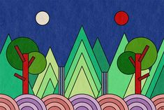 Irworobongdo: The Sun, Moon and the Five Peaks The Five, Sun Moon, Illustration, Illustrations