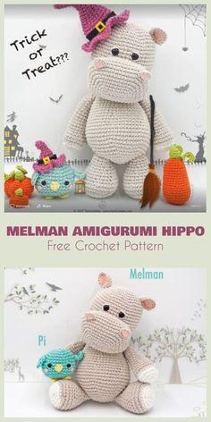 Crochet Amigurumi Hippo Melman Free Pattern - Amigurumi Crochet Hippo Toy Softies Free Patterns by john Crochet Hippo, Crochet Gratis, Crochet Amigurumi, Cute Crochet, Crochet Animals, Crochet Dolls, Crochet Baby, Amigurumi Toys, Crochet Unicorn Pattern Free