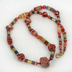 Decorated Carnelian & Gold Banded Lapis Necklace