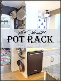 Using a pot rack in your kitchen can save valuable space, here is a very simple wall mounted pot rack I designed for our kitchen. Pot Rack Hanging, Hanging Pots, Tuscan Decorating, Decorating Tips, Tuscan Design, Tuscan Style, Used Cabinets, Pan Storage, Wrought Iron Decor