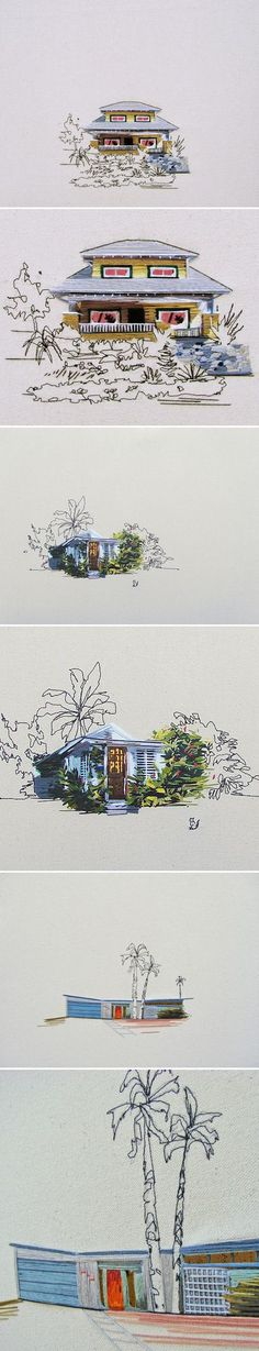 I cannot get enough of these embroidered dwellings by American artist Stephanie K. Clark. I've written about her before, and I'll write about her again! Her palettes, her composition, her embroidery s