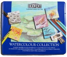 24 high quality Derwent watercolour mediums in an attractive tin. Derwent watercolour colledction includes:        12 x Watercolour Pencils.      8 x Aquatones (solid sticks of dissovlable colour).      1 x Watersoluble Sketching Pencil.      1 x Watercolour Brush.      1 x Plastic Eraser.      1 x Metal Pencil Sharperner.    The possibilities are endless, the results stunning.    $59.95