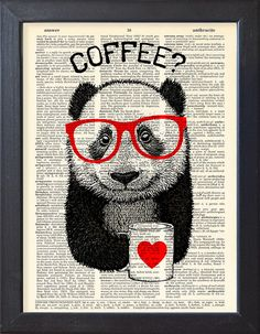 Panda koffie break, woordenboek Print, art poster, mok koffie, fotoboekpagina