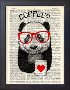 Panda coffee break DICTIONARY Print art poster mug by Natalprint