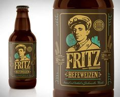 Fritz Hefeweizen is the newest brew creation from the folks over at Bold City Brewery. The name & portrait are inspired by someone very near & dear to the brewmaster's heart, his grandfathe. Beer Quotes, Beer Art, Bottle Packaging, Ginger Beer, Bottle Design, Root Beer, Packaging Design, Label Design, Beer Bottle