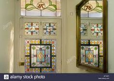 Stock Photo - Decorative Victorian Stained Glass front door taken from interior looking out British Housing London Victorian Front Doors, Glass Front Door, Glass Doors, Stained Glass Door, West London, Stock Photos, Holiday Decor, Frame, Interior