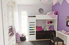 Lunan lastenhuone on sisustettu iloisilla väreillä, lisää ideoita www.lammi-kivitalot.fi