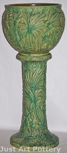 Weller Pottery Marvo Jardiniere and Pedestal from Just Art Pottery