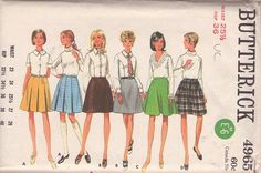 MOMSPatterns Vintage Sewing Patterns - Butterick 4965 Vintage 60's Sewing Pattern FABULOUS Mod Twiggy Mini Skirt Set, Pleates Kilt, Flirty & Flared, Vinyl GoGo or Leather Versions!