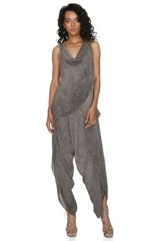 A feminine and sexy two-piece combination of matching top and trousers. The flowing trousers have open sides and come with a matching sophisticated cropped draped top. Harem Pants, Trousers, Designer Jumpsuits, Best Sellers, Feminine, Autumn, Brown, Sexy, Summer