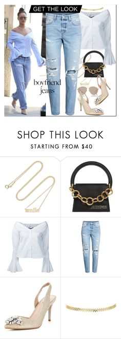 """""""get the look boyfriend jeans"""" by katymill ❤ liked on Polyvore featuring Jennifer Meyer Jewelry, Jacquemus, Carvela, Christian Dior, GetTheLook, jeans and boyfriendjeans"""