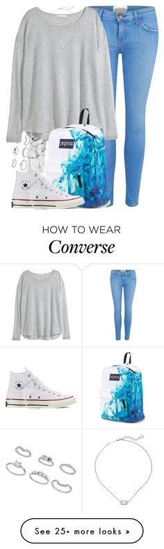 """Almost Exact OOTD!!!!"" by red-velvet-n-pearls on Polyvore featuring Current/Elliott, H&M, Kendra Scott, JanSport, Casetify, Converse and Miss Selfridge"