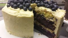 Blueberry lime white chocolate layer cake.