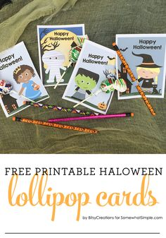 Halloween Printable Lollipop Cards - Free Printable by BitsyCreations for Somewhat Simple