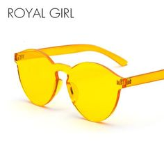 90070a9641 ROYAL GIRL Round Transparent Plastic Frame Sunglasses 2018 Women Men Brand  Designer Candy Color Clear Lens